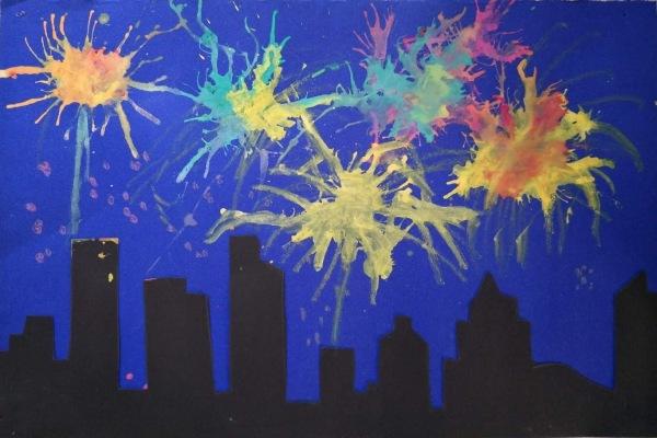 城市上空的烟花——吹画手工作品